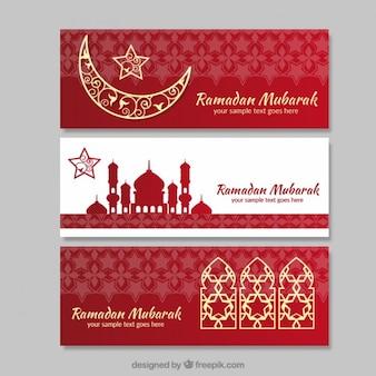 Bandeiras vermelhas e brancas Ramadan com detalhes dourados