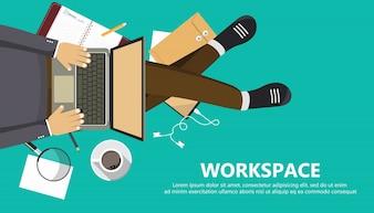 Banner comercial do espaço de trabalho
