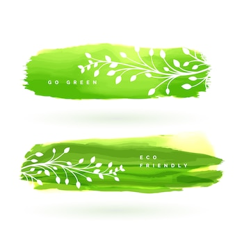 Banner de folha feito com aguarela verde