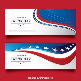 Banners abstractos americanos do dia do trabalho
