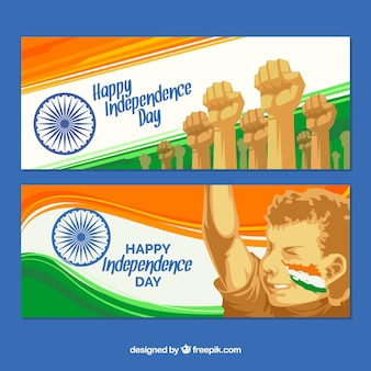Banners abstratos da luta pela independência da Índia