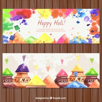 banners aquarela de Holi Festival