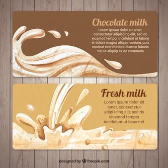 Banners aquarela de leite fresco em tons marrons