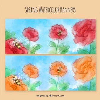 Banners aquarela Primavera