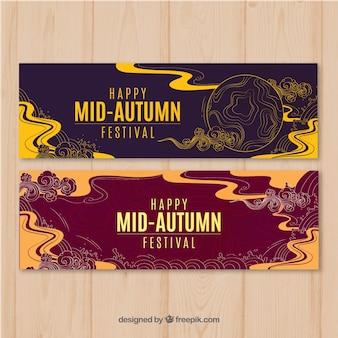 Banners artísticos para festival de meados de outono