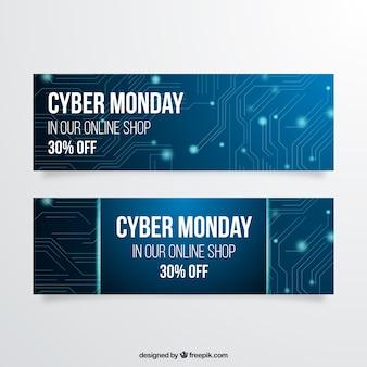 Banners azul de segunda-feira do cyber