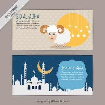 Banners bonitas com cordeiro e mesquita branca