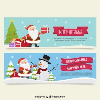 Banners bonitos com flocos de neve e Papai Noel