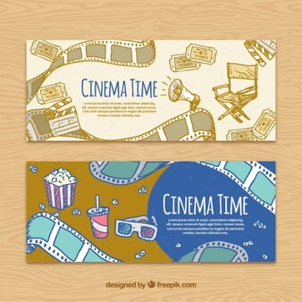 Banners cinema no estilo do vintage