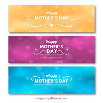 Banners coloridos com efeito bokeh para o dia das mães