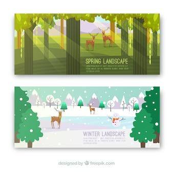 Banners coloridos com paisagens de primavera e inverno