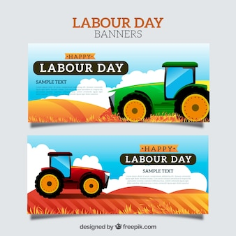 Banners coloridos com tratores para o dia do trabalho