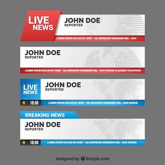 Banners coloridos de notícias ao vivo
