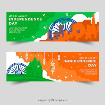 Banners coloridos para o dia da independência indiana
