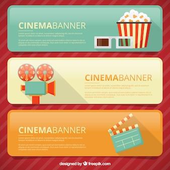 Banners com elementos do cinema