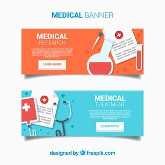 Banners com elementos médicos planas