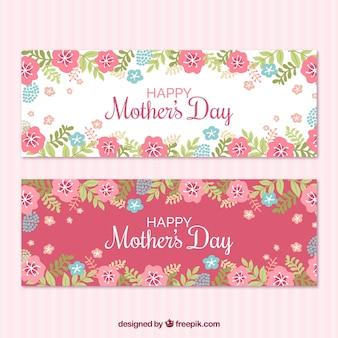 Banners com flores azuis e rosa para o dia das mães