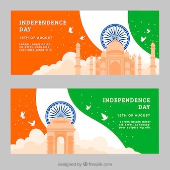 Banners com monumentos arquitetônicos da independência da Índia