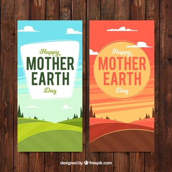 Banners com paisagens para o dia mãe terra