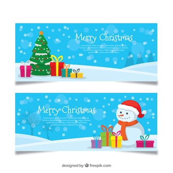 Banners com presentes de natal