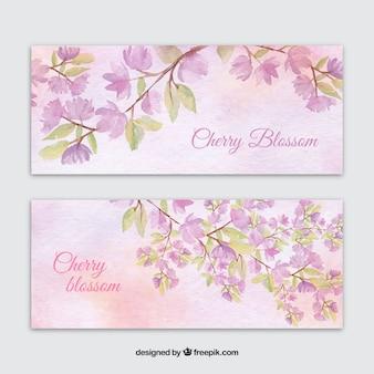 Banners da aguarela com flores de cerejeira