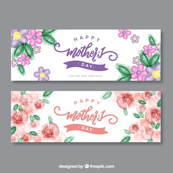 Banners da flor da aguarela do dia das mães