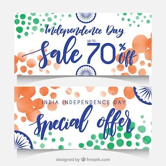 Banners de aguarela abstratos com vendas do dia da independência da Índia