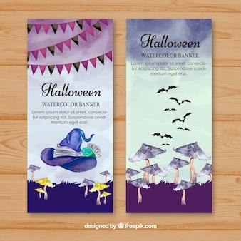 Banners de aguarela de Halloween com cogumelos
