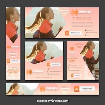 Banners de aplicativos de música e esportes