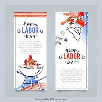 Banners de aquarela celebração do dia do trabalho