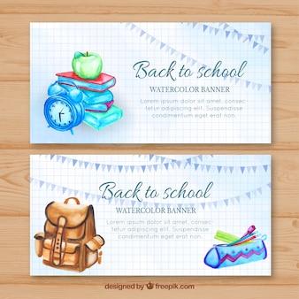 Banners de aquarela com materiais escolares e mochila