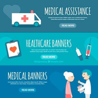 Banners de assistência médica em design plano