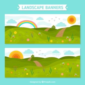 Banners de belos prados com sol e arco-íris