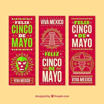 Banners de cinco de mayo com desenhos