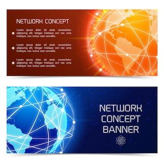 Banners de conceito de globo de rede