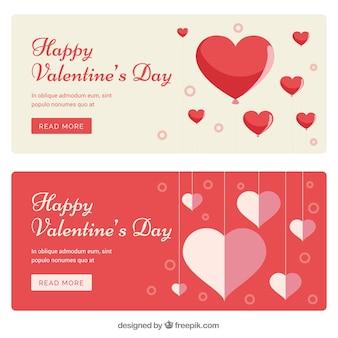 Banners de corações do Valentim