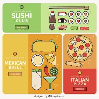 Banners de cozinha coloridas com diferentes tipos de alimentos