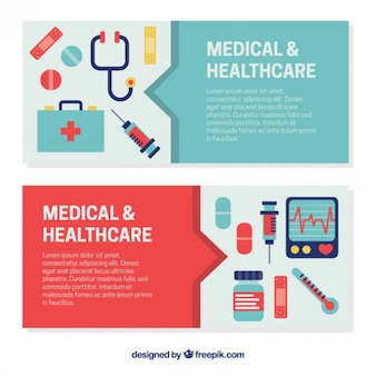 Banners de cuidados de saúde em design plano