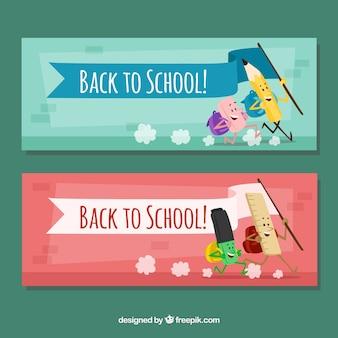 Banners de elementos escolares amigáveis
