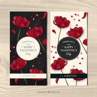 Banners de flores vermelhas no estilo realista