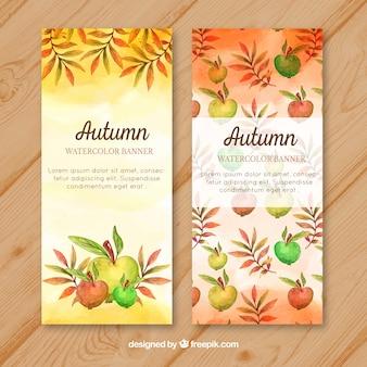 Banners de frutas de aquarela