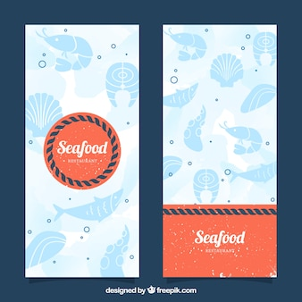 Banners de frutos do mar do vintage