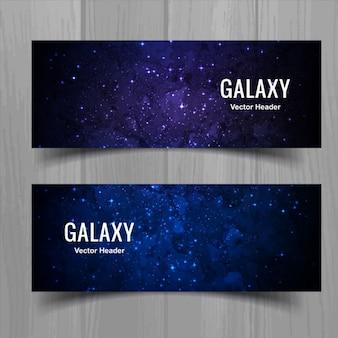 Banners de galáxias coloridas