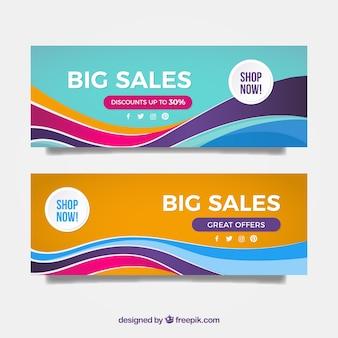 Banners de grandes descontos com ondas coloridas