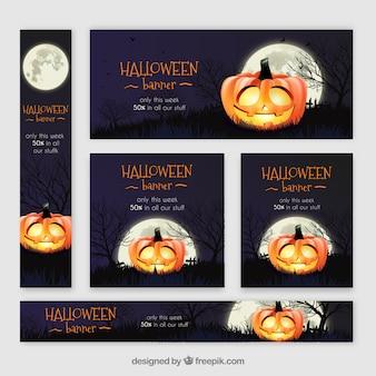 Banners de Halloween com design de abóbora