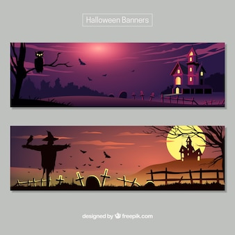 Banners de Halloween com paisagens escuras