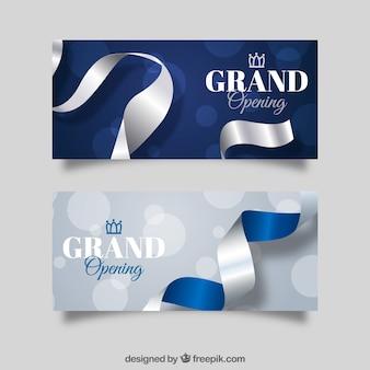 Banners de inauguração com estilo prateado