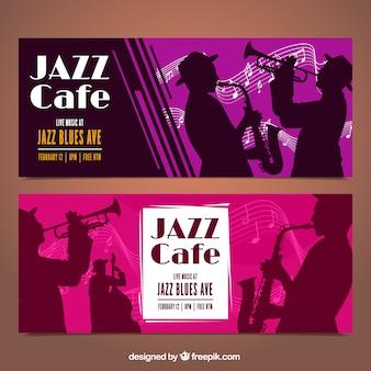Banners de jazz com silhuetas músico