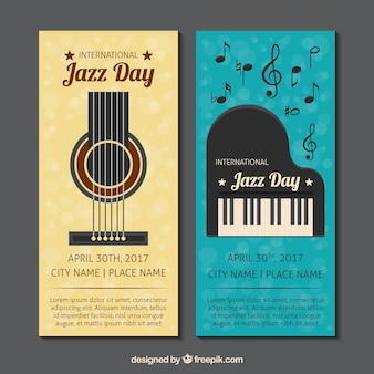 Banners de jazz do vintage com guitarra e piano