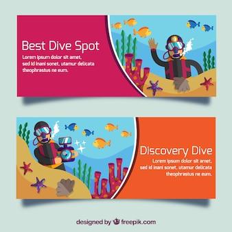 banners de mergulho bom conjunto